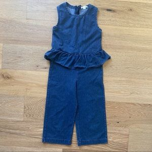 Crewcuts | girls denim ruffle peplum jumpsuit